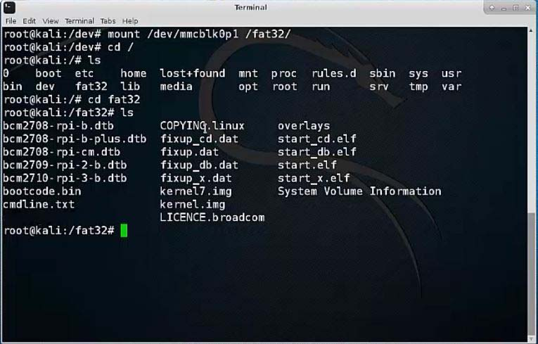 Change Screen Resolution in Kali Linux on Raspberry Pi 3 - fat32 directory