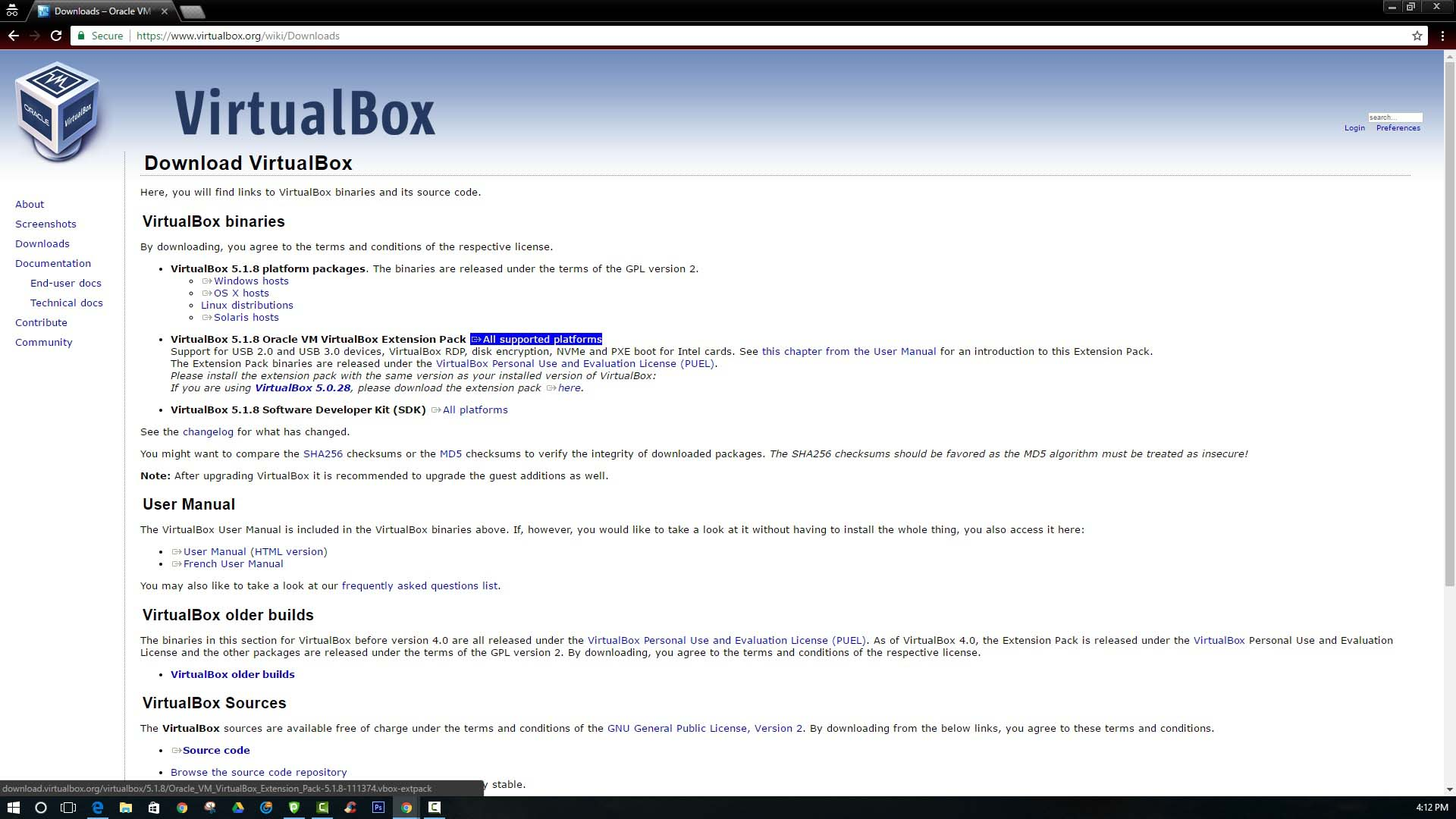 How to Install VirtualBox Extension Pack-downloading