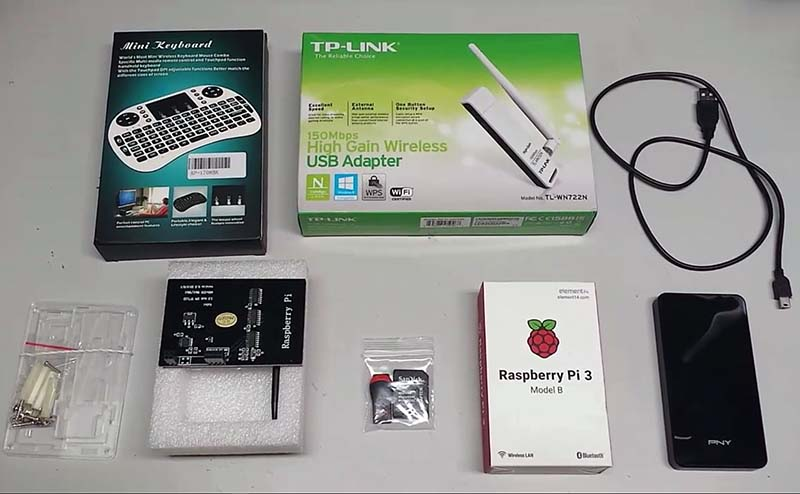Parts used to install Kali Linux on Raspberry Pi 3 with 3.5 inch LCD Screen