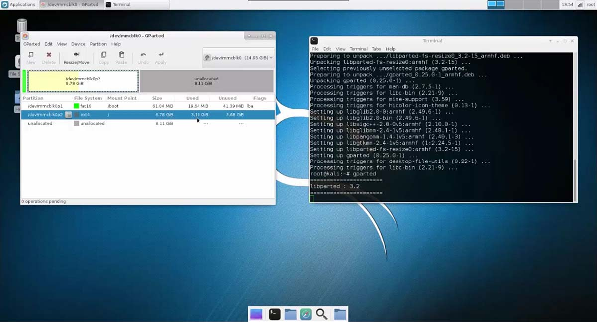 Installing Full Version of Kali Linux on Raspberry Pi 3 - partition resize