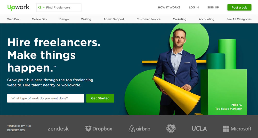 UpWork Homepage of website