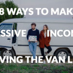 couple outside their van on laptop looking for ways to make passive income