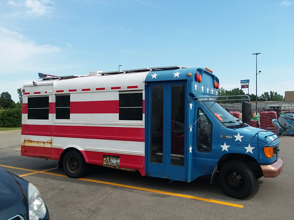 stars and stripes but bought in Chicago - Digital Nomad Living in a School Bus