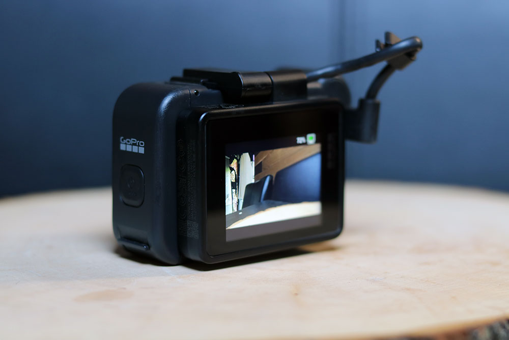 The Display Mod folded over top of the GoPro main display